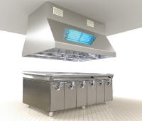Eliminating smells and fat pollution in kitchen ventilation